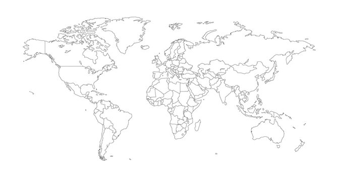 Outline Illustration of the world (with country borders)