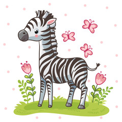 Striped cute zebra is standing on the green meadow. Vector illustration in a childrens style on a white background.