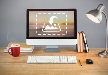 Desktop Computer on Wooden Desk Mockup