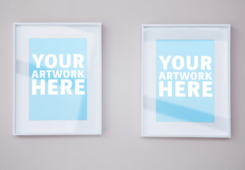 Two White Photo/Art Frames on Wall Mockup