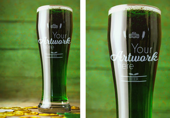St. Patrick's Day Glass of Beer Mockup