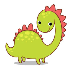 Cute smiling dinosaur on a white background. Vector illustration of the ancient animals in the childrens style.
