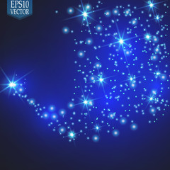 Vector glowing stars, lights and sparkles. Transparent effects\