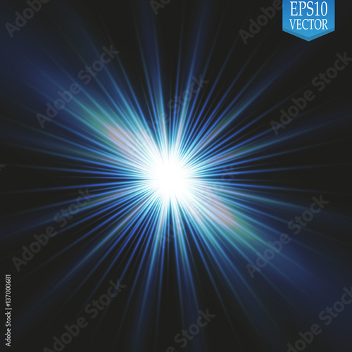 Set Of Golden Glowing Lights Effects Isolated On Transparent Background Sun Flash With Rays And