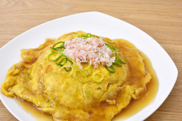 Tenshinhan/crab omelet on rice.