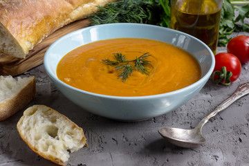 Tomato soup in a bowl.