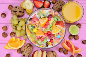 cereal with fruit on table
