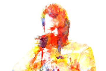 Double exposure male photographer looking at the camera. Painted portrait of a man face. Colorful picture isolated on white background. Abstract  face. Watercolour illustration.