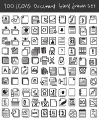 Document icon set hand drawn vector line art cute illustration