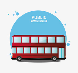 public transport red bus two storied vector illustration eps 10