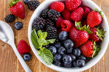 Bowl Filled with Fresh Organic Berries