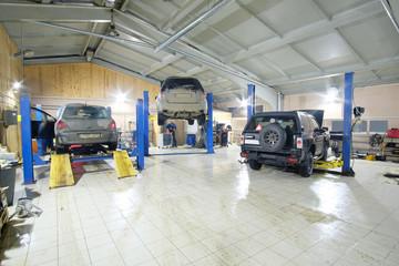 Cars in car repair station