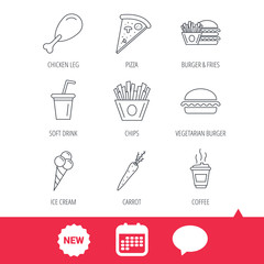 Vegetarian burger, pizza and soft drink icons. Coffee, ice cream and chips fries linear signs. Chicken leg, carrot icons. New tag, speech bubble and calendar web icons. Vector