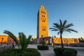 The Koutoubia Mosque or Kutubiyya Mosque at night, it is the largest mosque in Marrakesh, Morocco.