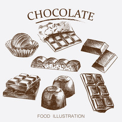 Hand drawn set of different kinds of chocolate sketch style vector illustration on white background. Chocolate bars, candies, beans, porous