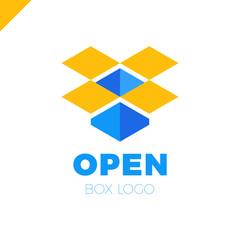Open box logo. Simple vector color icon