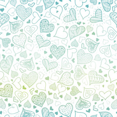 Vector Blue Hand Drawn Hearts Seamless Pattern Design Perfect for Valentine's Day cards, fabric, scrapbooking, wallpaper.