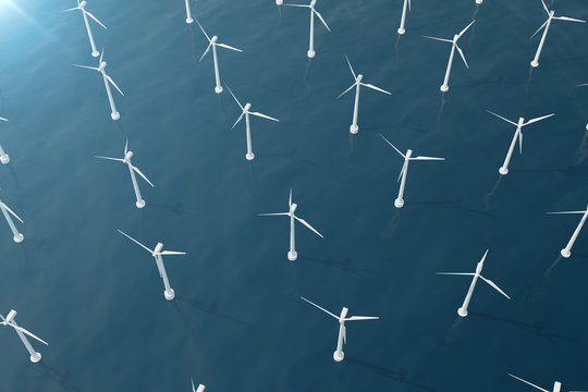 Offshore aerial view of wind turbines in the sea. Clean energy, ecological concept. 3d rendering