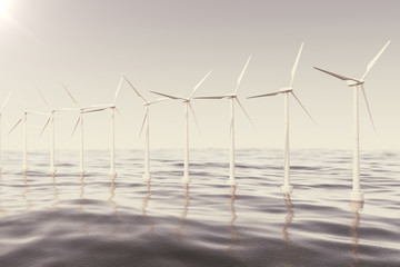 Offshore wind farm turbines caught in sunset sky. Beautiful contrast with the blue sea. ecological concept. 3d rendering