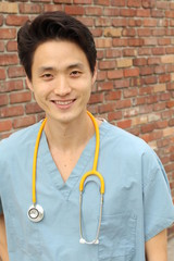 Male health care worker smiling