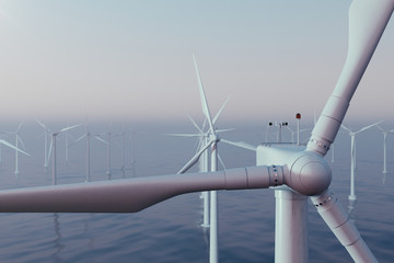 Beautiful sunset wind turbines in sea, ocean. Clean energy, wind energy, ecological concept. 3d rendering