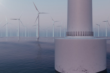 White wind turbines generating electricity in sea, ocean. Clean energy, wind energy, ecological concept. 3d rendering