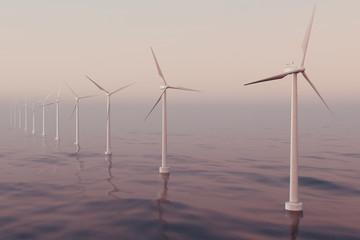 Beautiful the wind turbines in sea, ocean. Clean energy, wind energy, ecological concept. 3d rendering