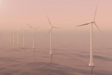 Sunset wind turbines in sea, ocean. Clean energy, wind energy, ecological concept. 3d rendering