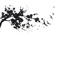 black silhouete,flowers tree , on a white