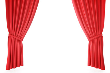 Red velvet stage curtains, scarlet theatre drapery. Silk classical curtains, red theater curtain. 3d rendering