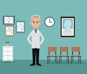doctor office practitioner waiting room vector illustration eps 10