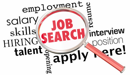 Job Search Magnifying Glass Get Hired Find Open Position 3d Illu