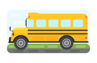 School bus transport for children vector illustration.
