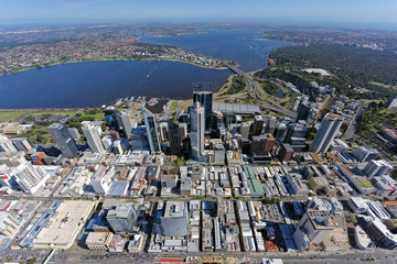 Aerial view over Perth CBD looking south