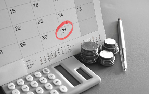 Monthly Saving and Planning Money for Expense Business Finance and Loan Concept