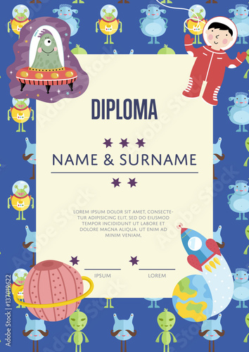 diploma cartoon template spaceship stars planets comets for