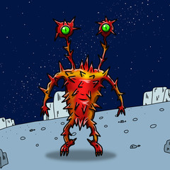 Crazy strange space alien or monster on an alien planet