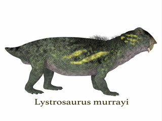 Lystrosaurus Dinosaur with Font - Lystrosaurus was a dicynodont therapsid dinosaur that lived in the Permian and Triassic Periods of Antarctica, India, Africa, China, Mongolia and Russia.