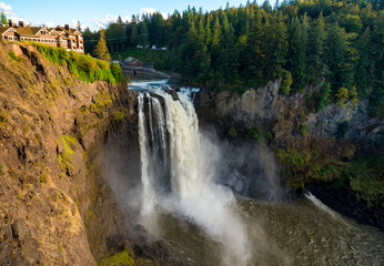 Snoqualmie Falls on the western edge of the North Cascade mountains in Washington
