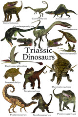 Triassic Dinosaurs - A collection of various dinosaur and marine animals that lived during the Triassic Period of Earth's history.