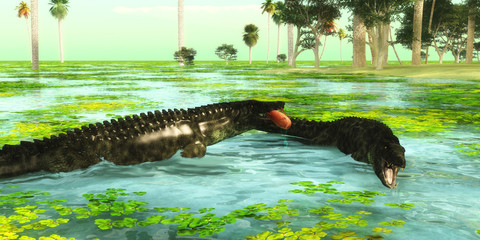Tropical Uberabasuchus Marine Reptiles - Uberabasuchus reptiles catch fish in a tropical region of Brazil in the Cretaceous Period.