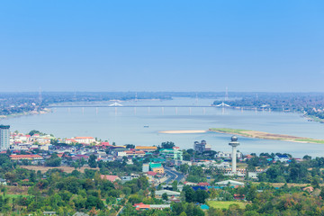 view of mekong river with Thai-Lao friendship bridge at Mukdahan