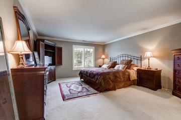 Master bedroom interior with vintage furniture set