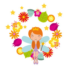 wreath of flowers and fairy girl icon over white background. colorful design. vector illustration