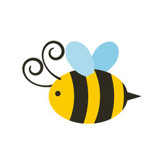 bee icon over white background. colorful design. vector illustration