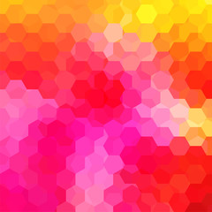 Abstract background consisting of yellow, orange, pink hexagons. Geometric design for business presentations or web template banner flyer. Vector illustration
