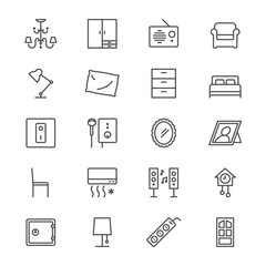 Home furniture thin icons