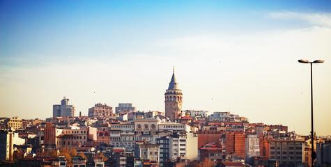 Cityscape skyline panorama of Istanbul with Galata tower - main symbol if Istanbul city, Turkey.