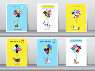 Set of birthday cards,vintage color,poster,template,greeting cards,balloons,animals,dogs,Vector illustrations