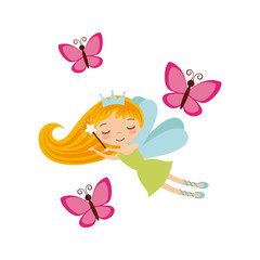 fairy girl icon over white background. colorful design. vector illustration